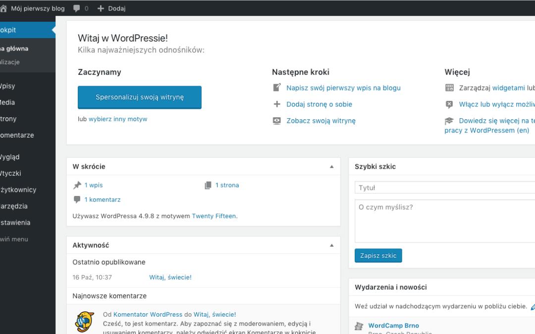 Panel Administracyjny WordPress – pierwsze kroki wnawigacji