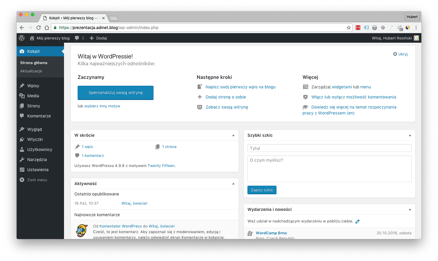 Wpis Panel Administracyjny - zrzut ekranu kokpitu WordPressa.