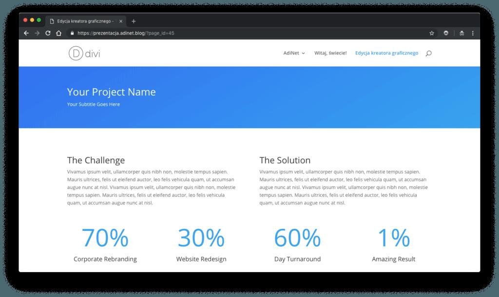 """Wpis """"Kreator graficzny Divi"""" - widok strony dla użytkownika"""