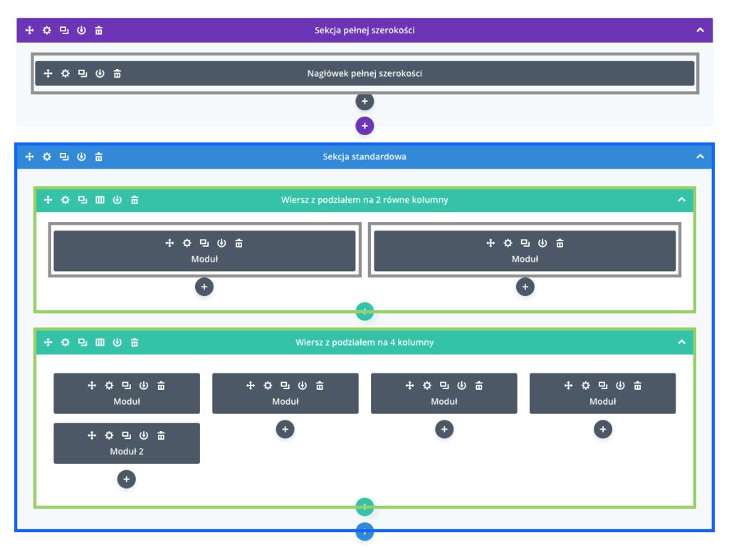 Struktura strony wDivi Builder