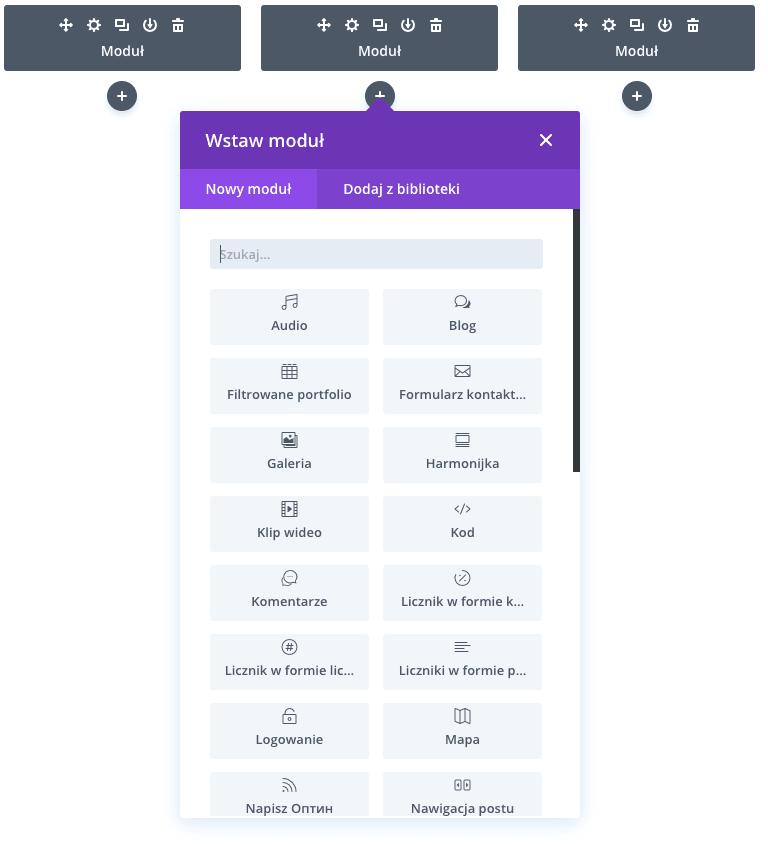 Moduły dostępne wDivi Builder