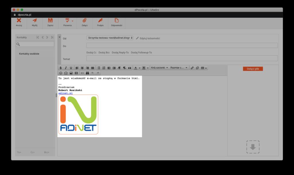 tworzenie wiadomości e-mail zestopką wformacie html